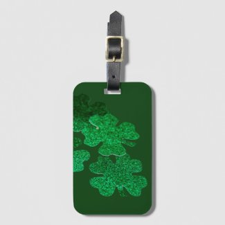 St. Patrick's Day Shamrock Clover on green Luggage Tag