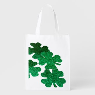 St. Patrick's Day Shamrock Clover on white Grocery Bag