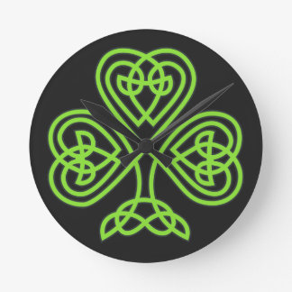 St. Patrick's Day Shamrock Clover Wall Clock