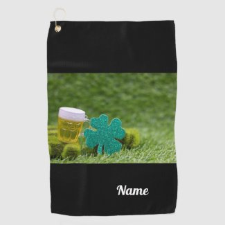 St. Patrick's Day Shamrock Clover with beer Golf Towel