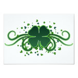 "St. Patrick's Day Shamrock Swirls Invitation 5"" X 7"" Invitation Card"