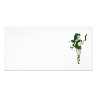 St Patrick s Day Sprite 3 - Green Fairy Personalized Photo Card