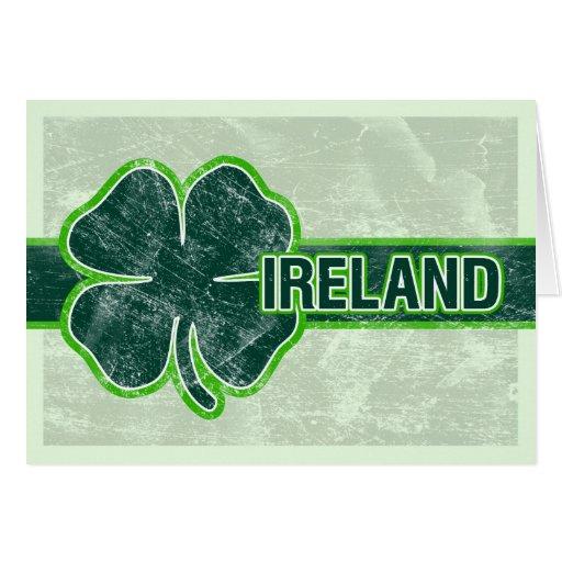 St. Patrick's 'Ireland' Shamrock Grunge Card