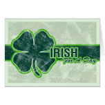 St. Patrick's 'Irish For A Day' Shamrock Grunge Greeting Cards