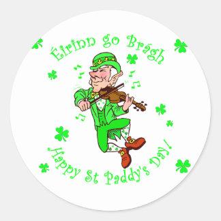 St Patrick s Leprechaun playing fiddle Stickers