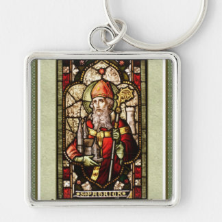 St. Patrick Silver Framed Square Keychain