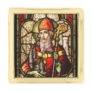 St Patrick Stained Glass Gold Finish Lapel Pin