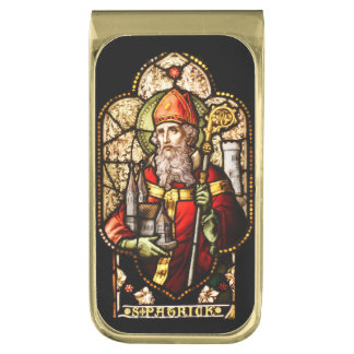 St Patrick Stained Glass Gold Finish Money Clip