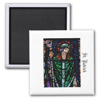 St. Patrick Stained Glass 2 Inch Square Magnet