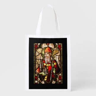 St Patrick Stained Glass Reusable Grocery Bag