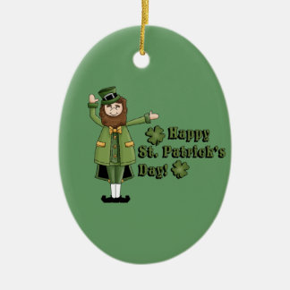 St Patrick Wishes You A Happy St Pats Day Double-Sided Oval Ceramic Christmas Ornament