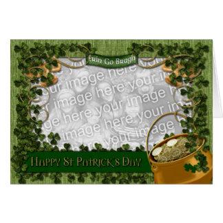 St Patricks - ADD YOUR PHOTO - Shamrock Frame Card