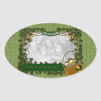 St Patricks - ADD YOUR PHOTO - Shamrock Frame Oval Sticker