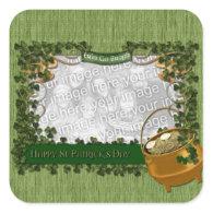 St Patricks - ADD YOUR PHOTO - Shamrock Frame Square Stickers