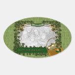 St Patricks - AÑADA SU FOTO - marco del trébol Calcomanía Oval