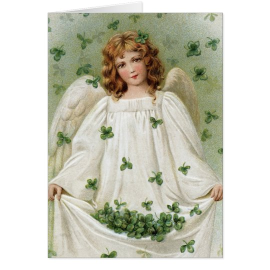 St. Patricks Angel bringing you good luck Card