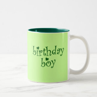 St Patrick's Birthday Boy with Shamrocks Two-Tone Coffee Mug