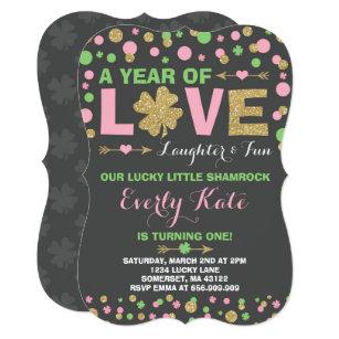 St  Patrick's Birthday Invitation Little Shamrock