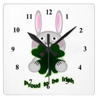 St. Patricks Bunny Proud to be Irish Shamrock Square Wall Clock
