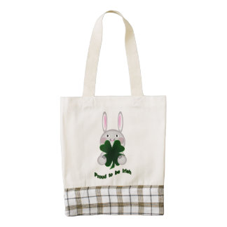 St. Patricks Bunny Proud to be Irish Shamrock Zazzle HEART Tote Bag