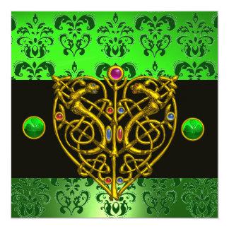 ST. PATRICK'S CELTIC HEART Green Damask 5.25x5.25 Square Paper Invitation Card
