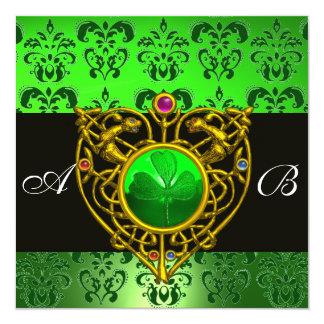 ST. PATRICK'S CELTIC HEART Green Damask Monogram Invitation