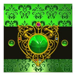 ST. PATRICK'S CELTIC HEART Green Damask Monogram 5.25x5.25 Square Paper Invitation Card