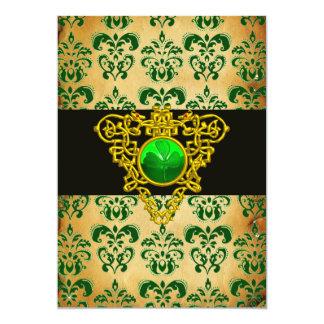 ST. PATRICK'S CELTIC HEART Green Damask Parchment 5x7 Paper Invitation Card