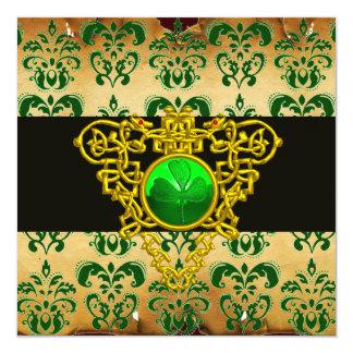 ST.PATRICK'S CELTIC HEART Green Damask Parchment 5.25x5.25 Square Paper Invitation Card