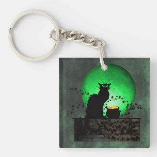 St. Patrick's Chat Noir Single-Sided Square Acrylic Keychain