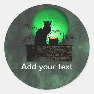 St. Patrick's Chat Noir Classic Round Sticker