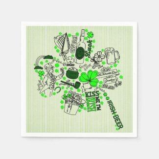 St. Patrick's Clover Fun Word Art Pattern Standard Cocktail Napkin