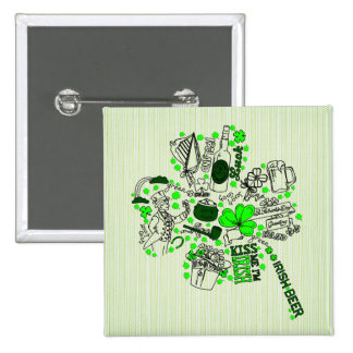 St. Patrick's Clover Fun Word Art Pattern Pinback Button