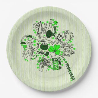 St. Patrick's Clover Fun Word Art Pattern 9 Inch Paper Plate