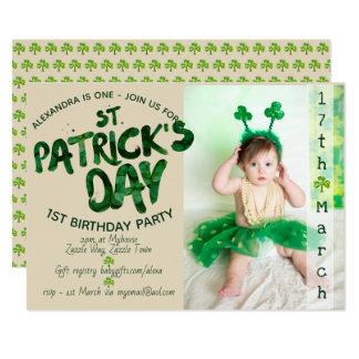 St Patrick's Day 1st BIRTHDAY - PHOTO Invitation