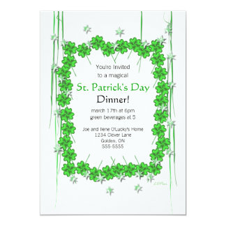 St. Patrick's Day 4-Leaf Clover and Stars Card