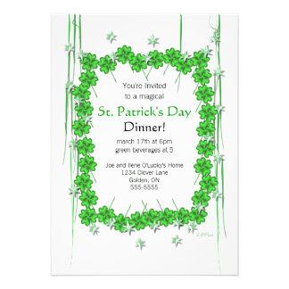 St. Patrick's Day 4-Leaf Clover and Stars Custom Invite