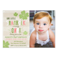 St. Patrick's Day 4 Leaf Clover Birthday Invite at Zazzle