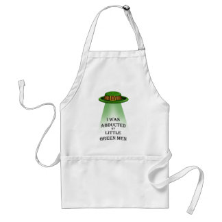 st. patrick's day, abducted by little green men adult apron
