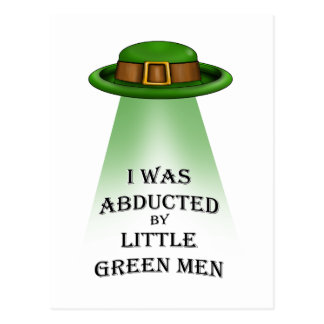 st. patrick's day, abducted by little green men postcard