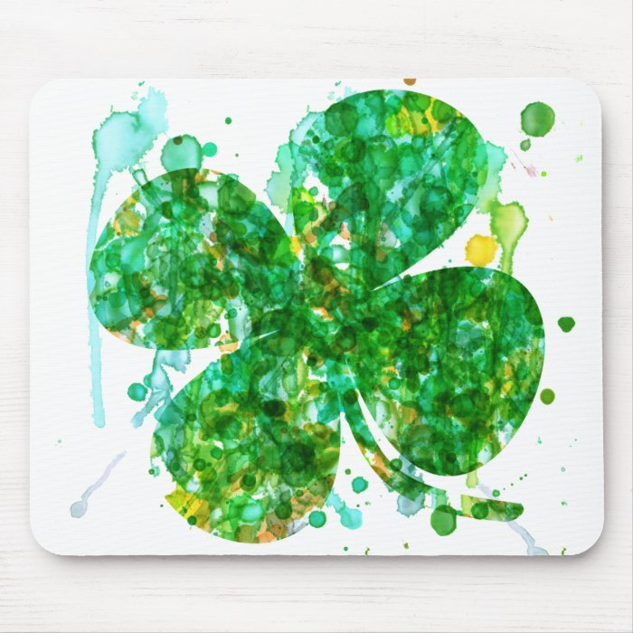 St. Patricks Day Abstract Shamrock Art Mouse Pad