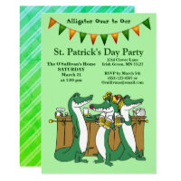 St. Patrick's Day Alligator Over to Our Party Invitation