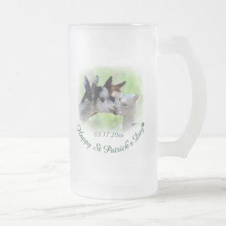 St Patrick's Day Alpaca Frosted Glass Mug