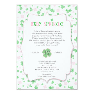 St Patrick's Day Baby Sprinkle / pink girl Card