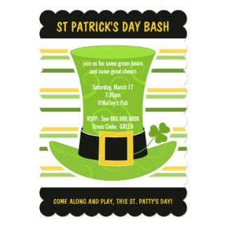 St Patrick's Day Bash Green Top Hat Stripes Invite