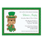 St. Patrick's Day Bear Clover Baby Shower 5x7 Paper Invitation Card