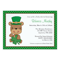 St. Patrick's Day Bear Clover Baby Shower Card at Zazzle