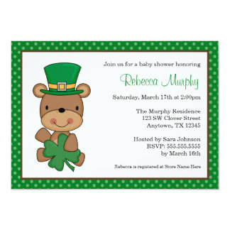 St. Patrick's Day Bear Clover Baby Shower Card