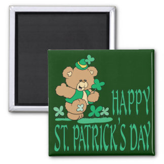 St. Patrick's Day Bear 2 Inch Square Magnet