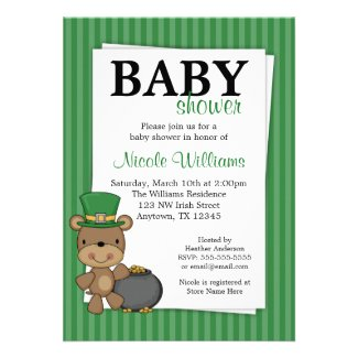 St. Patrick's Day Bear Pot Of Gold Baby Shower Card